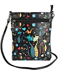 Stylish Multi Color Printed PU Leather Sling Bag For Girls / Women / Ladies 3 Zipper Pocket Cross Body Bag By... - B073RKD4T1
