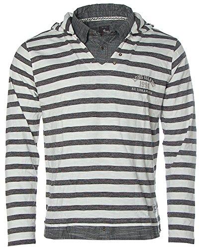 Kitaro Herren Langarm Shirt V-Ausschnitt Kapuze TWO in ONE Streifen Long Island Offwhite Grey