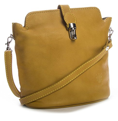 Big Handbag Shop piccola morbida borsa a tracolla Cross Body in pelle Giallo (Mustard gelb)