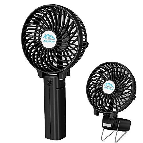 Preisvergleich Produktbild LightsGoal Faltbarer Mini Handheld Ventilator, USB Wiederaufladbar Handventilator, Sommer Tragbar Fan, Batteriebetrieben Lüfter Mit Metall Clip Benutzt für Computer, Kinderwagen, Sonnenschirm, Schreibtisch