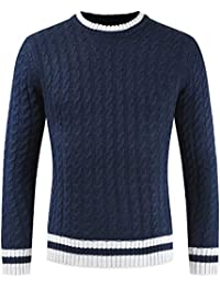 BUSIM Men's Long Sleeve Sweater Autumn Winter Casual Turtleneck Slim Knit Shirt Round Collar British Wind Jacket...
