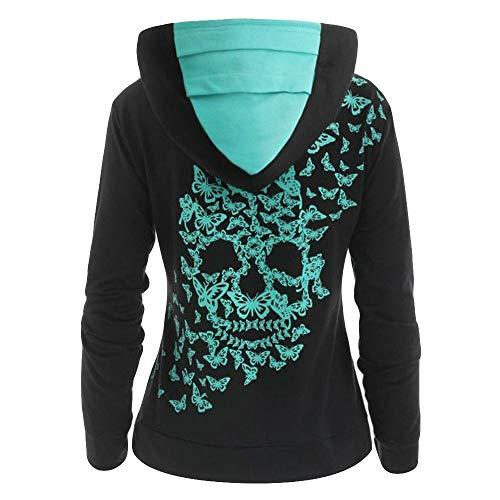 Amoyl Hoodie Damen Mode Langarm Schmetterling Skull Print Streetwear Sweatshirt Jacke Mantel (Schwarz, S) Skull Mantel