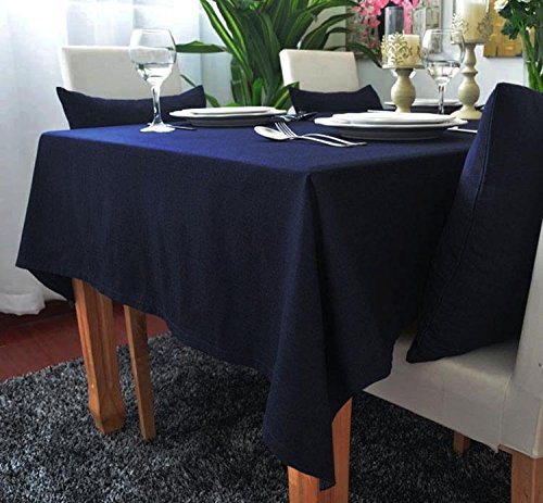 kingdeson-cotton-linen-rectangle-polyester-solid-color-modern-tablecloth-multi-sized-navy-55x70inch