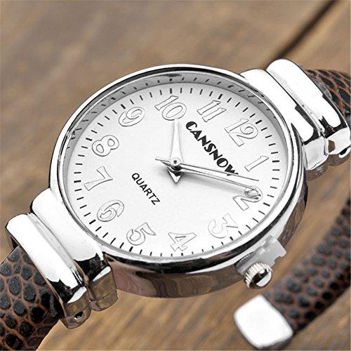 JSDDE Uhren,Damen Armbanduhr Chic Manschette Rund Damenuhr Spangenuhr Schlage Haut Band Armbanduhr Quarzuhr(Kaffee) - 2