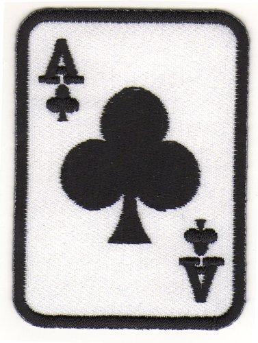 Aufnäher Bügelbild Iron on Patches Applikation Ass Karte Poker Kreuz