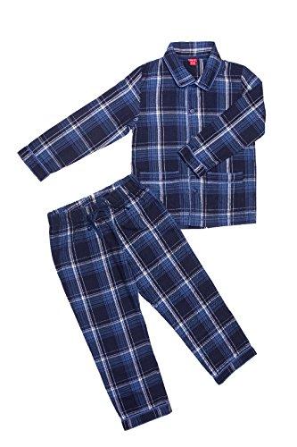 La-V Jungen Pyjama kariert dunkelblau/116/122 (Flanell-kinder-pyjama)
