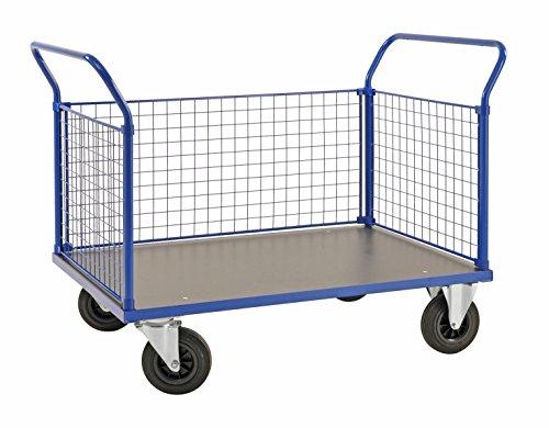 Seitenwand-gitter (Plattformwagen | Transportwagen aus Stahl mit 3 Gitterwänden - 500 kg Tragkraft, 1000 x 700 mm, Dreiwandwagen / Industrie-wagen / Gitter-wagen mit Seitenwänden und Vollgummi-Reifen)