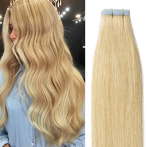 Tape in extension capelli veri adesive - 35cm 40g 20fasce #24 biondo naturale - 100% remy human hair capelli lisci umani