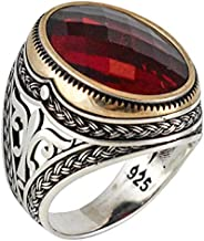 Solid 925 Sterling Silver Cubic Zirconia Stone Ruby Color Luxury Turkish Handmade Men's