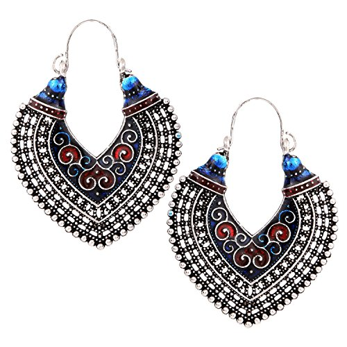 Castle Street Artistic Red & Blue Meenakari Alloy Hoop Earring for Women