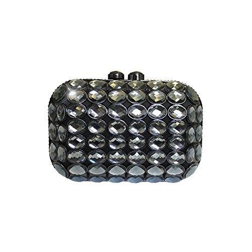 Anna Cecere Italienisch Entwickelt Gioello Jewel Clutch Abendtasche - Schwarz (Grün Jeweled Handtasche)