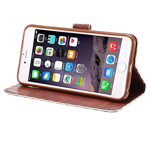 wkae Schutzhülle Case & Cover Prägung Grid Textur Horizontal Flip PU Leder Case mit Halter & CardSlots für iPhone 6& 6S Grau