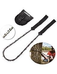 Overmont 33 dientes Sierra de cadena manual kit de supervivencia para camping senderismo al aire libre con bolsillo