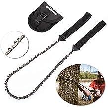 130cm Overmont Handkettens/äge Kettens/äge Ast-S/äge Gartens/äge mit 16 Z/ähnen aus Stahl Outdoor f/ür Camping Garten Survival