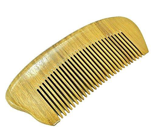 Peine hecho a mano de sándalo verde,  antiestático,  desenredante,  para mujeres,  hombres y niñas,  peine de pelo grueso,  rizado y ondulado,  anticaspa