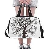 Plsdx Schwarze Skizze Entwurfs Baum Gewohnheit große Yoga Turnhalle Totes Eignung Handtaschen Reise Seesäcke mit Schultergurt Schuhbeutel für Übung Sport Gepäck für die Frauen der Frauen im Freien