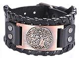 VASSAGO vintage Norse mito albero della vita Yggdrasill pentagramma amuleto polsino bracciale in pelle di nuovo tipo e Lega, colore: Black Leather, Antique Copper