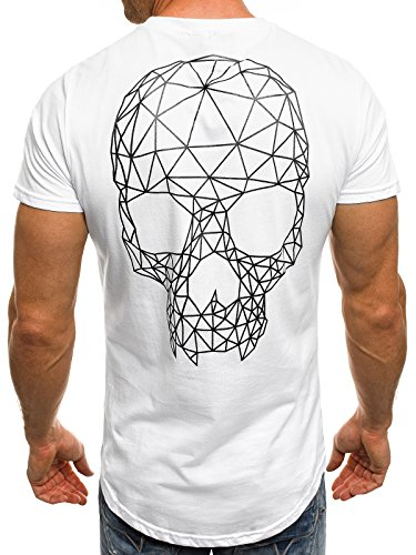 OZONEE Herren T-Shirt mit Motiv Kurzarm Rundhals Figurbetont J.STYLE SS009 Weiß_J.STYLE-SS091