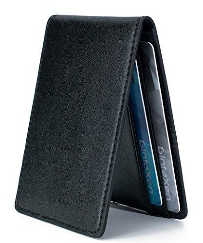 Ultradünne Geldbörse in Mini-Größe mit ID-Fenster, Kartenfächer und RFID Blocker - Schwarz (Id-fenster Mens Wallet)