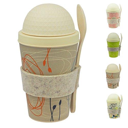 ebos qualité supérieure gobelet de muesli à emporter en bambou | tasse de céréales, bol de céréales, gobelet de yaourt, tasse de voyage incl. cuillère | biodégradable dans l'environnement, recyclable, respectueux de l'environnement |convient pour les aliments, adapté pour le lave-vaisselle (gris (Cercles et fleurs))