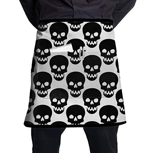 Black Skull Jeans (MSGDF Black Skull White Waist Apron Server Apron with Pockets Commercial Restaurant Waitress Waiter Waterproof Kitchen Apron for Men Women Half Bistro Aprons)