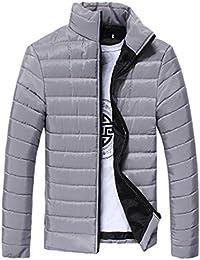 FNKDOR Abrigo de los muchachos de los hombres, cuello caliente del soporte Chaqueta con capucha delgada del invierno Outwear