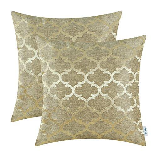 2 Stück Calitime Überwurf Kissenbezüge Beide Seiten, Geometrische 45cm X 45cm Gold - Gold Kissenbezüge