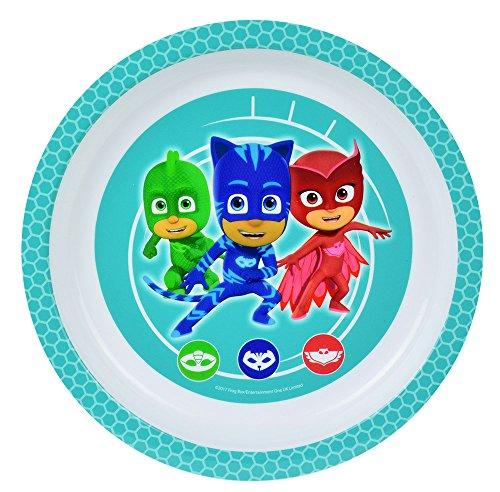 Fun House 005561Plato Apto para microondas, diseño Infantil de Pyjamask, Polipropileno, Color Verde...