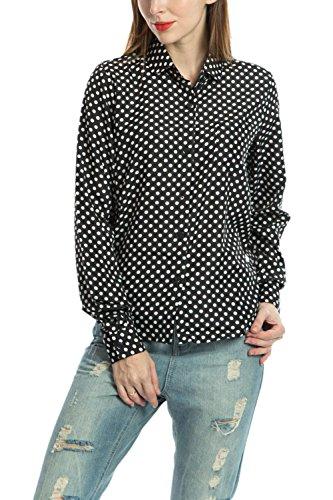 La Mujer Casual De Manga Larga Botón Clásico Lunares OL Oficina Blusa Camisa Top Black M