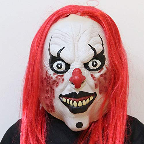 WHLMJ Latex Maske Halloween Make-Up Accessoires Rote Haare. Maske