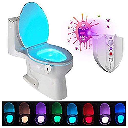 Lumière de toilette LED veilleuse avec UV stérilisateur Motion Detection nuit lumière sensible crépuscule à l'aube 8 couleurs batterie lampe de toilette bol salle de bain lumière