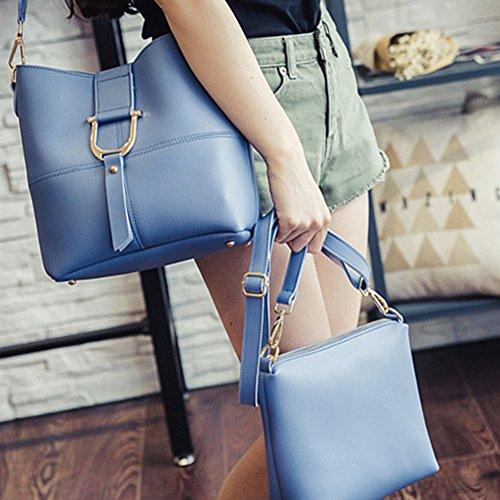 Damen PU-Leder Handtaschen Schulter Beuteltote Geldbörse Set Mit Bunter Bügel Schwarz Blau