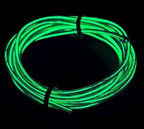Amicc® Tragbare 5m Neonlicht El Draht mit Akku Neon leuchtende Strobing Elektrolumineszenzdraht für Parteien, Halloween Dekoration (Jadegrün)
