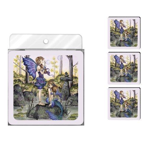 Tree-Free Greetings NC37562 Amy Brown Fantasy Untersetzer-Set mit 2 Cousins Fee und Meerjungfrau, 4 Stück -