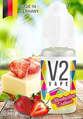 V2 Vape E-Liquid American Strawberry-Cheesecake Erdbeer-Käsekuchen - Luxury Liquid für E-Zigarette und E-Shisha Made in Germany aus natürlichen Zutaten 0mg nikotinfrei - verschiedene Größen von V2 VAPE