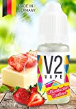 V2 Vape E-Liquid American Strawberry-Cheesecake Erdbeer-Käsekuchen - Luxury Liquid für E-Zigarette und E-Shisha Made in Germany aus natürlichen Zutaten 10ml 0mg nikotinfrei