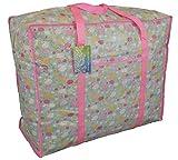 Große blaue und rosa Aufbewahrungstasche mit Tasche. Schafe auf Wolken Muster für Wäsche oder Spielzeug Speicher