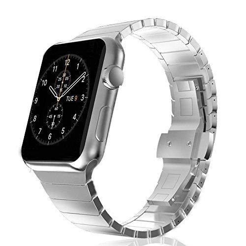 CoverKingz Apple Watch Armband 42mm Edelstahl Band Silber für Series 1/2/3 Ersatzarmband Stainless Steel Bracelet Uhrenarmband Exklusiv Armband Metall-Armband