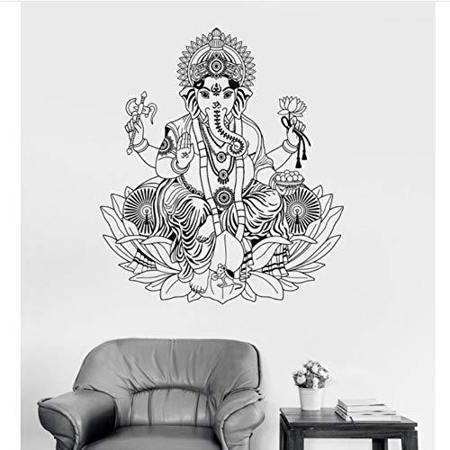 Dalxsh Vinyl Wandtattoo Ganesha Lotus Hinduismus Gott Hindu Indien Dekor Wandaufkleber Elefant Wandaufkleber Steuern Dekor Wohnzimmer 56x65 cm