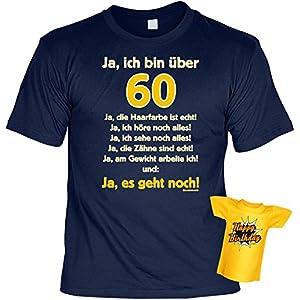 T-Shirt zum 60.Geburtstag + Minishirt Geschenk 60 Set : Ja ich bin über 60, ja die Haarfarbe -- Set Goodman Design® Gr: XL Farbe: navy-blau