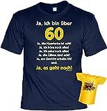 T-Shirt zum 60.Geburtstag + Minishirt Geschenk 60 Set : Ja ich bin über 60, ja die Haarfarbe -- Set Goodman Design® Gr: 3XL Farbe: navy-blau
