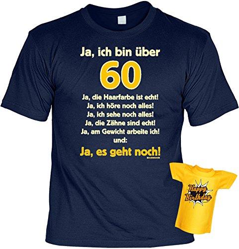 Geburtstags-Fun-Shirt-Set inkl. Mini-Shirt/Flaschendeko: Ja, ich bin über 60.... Navyblau