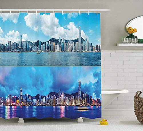 Apartment Decor Shower Curtain, Times of Hong Kong City Morning and Evening Urban Downtown Scene Art, Fabric Bathroom Decor Set with Hooks, 66x72 inches Extra Long, Deep Sky Blue