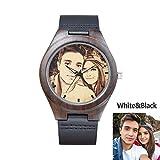 ufooro Custom Holz Armbanduhr Schwarz Brillenband Sketch Weiß und Schwarz Foto Personalisierte Herren Frauen Handgelenk Uhren Geschenk