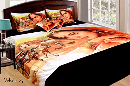 7d205dfcdb 5% OFF on Velvet King Size Double Bedsheet Digital Print with 2 Pillow Cover  & 2 Cushion on Amazon | PaisaWapas.com