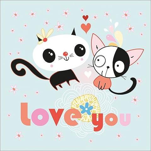 Reproduction sur toile 50 x 50 cm: Love you, kitty de Kidz Collection / Colourbox - Reproduction prête à accrocher, toile sur châssis, image sur toile véritable prête à accrocher, reproduction sur ...