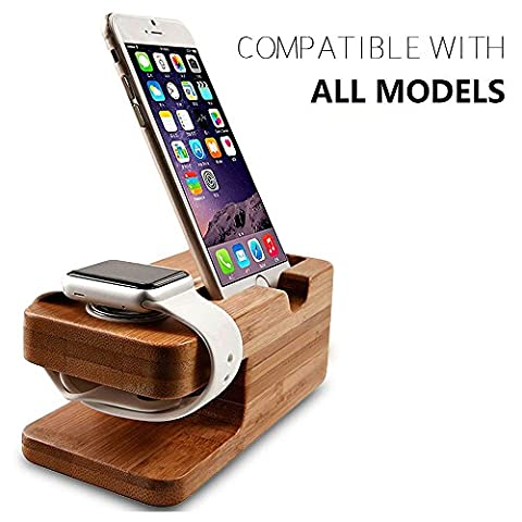 Wooden Apple Watch iPhone Bamboo Stand Charging Cradle Holder Nightstand Station 2 in 1 Dual Charger Dock Fit iPhone 7/7Plus, 6/6 Plus, 5/5S/5C, iWatch 42mm & 38mm Original BASIC / SPORT / EDITION and Samsung Smartphone