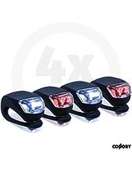 Collory mini LED Silikon-Leuchte Set inkl. Batterien 6V | Kinderwagen-Beleuchtung | Rollstuhl-Leuchten | Roller-Blinklicht | Sicherheitsbeleuchtung | Warnlicht | Kinder-Lampen-Set | Wasserfest | Rot-Weiß | einfache Montage: Clip-On