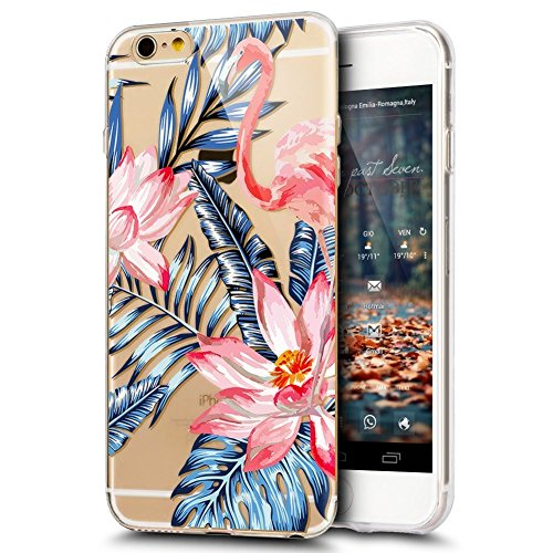 iPhone 6S Plus Custodia, iPhone 6 Plus Cover in Silicone Transparente, JAWSEU Super Sottile Cristallo Chiaro Custodia per Apple iPhone 6 Plus/6S Plus Corpeture Caso Case Antiurto Creativo Disegno Anti Fenicottero #8