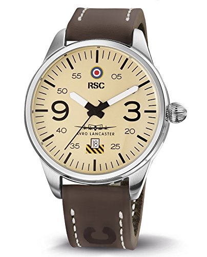 RSC Relojes De Piloto Hombres Análogo De Cuarzo Reloj con Cuero Pulsera Avro Lancaster rsc1504